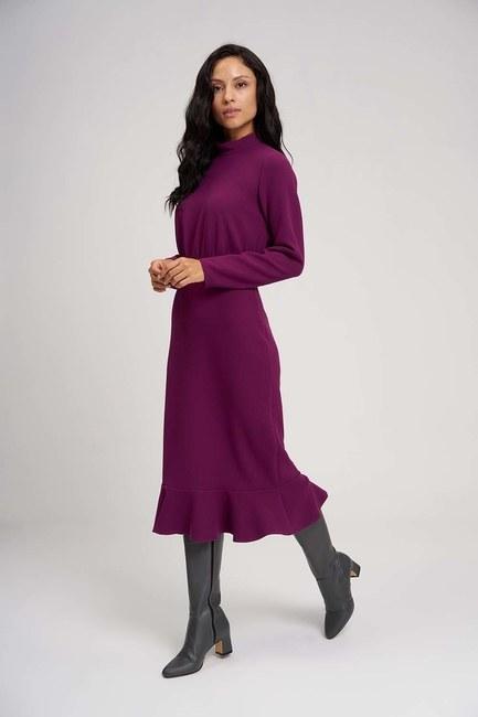 Beli Büzgülü Elbise (Mor) - Thumbnail
