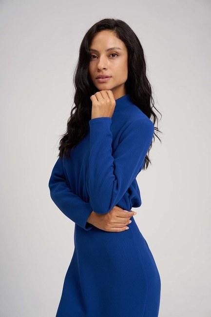 MIZALLE - Beli Büzgülü Elbise (Saks) (1)