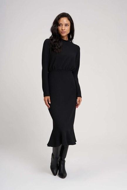 Beli Büzgülü Elbise (Siyah) - Thumbnail