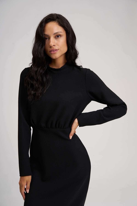 MIZALLE Beli Büzgülü Elbise (Siyah) (1)