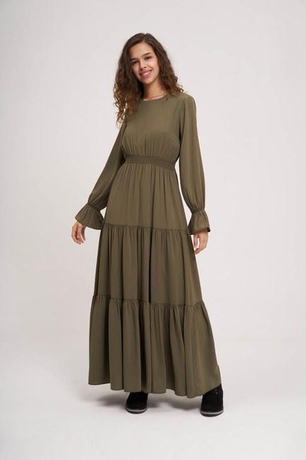 Mizalle - Beli Büzgülü Lastikli Elbise (Haki)