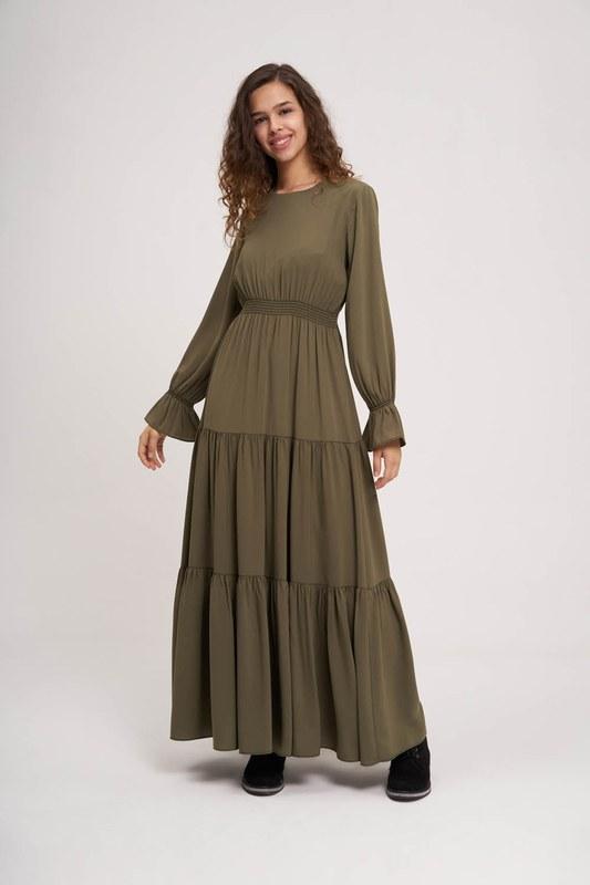 Beli Büzgülü Lastikli Elbise (Haki)