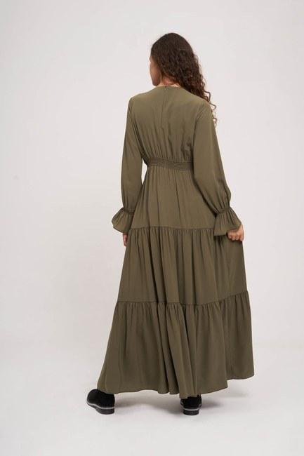 Beli Büzgülü Lastikli Elbise (Haki) - Thumbnail