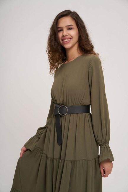 MIZALLE YOUTH - Waist Pleated Elastic Dress (Khaki) (1)