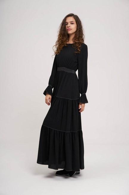 Mizalle - Beli Büzgülü Lastikli Elbise (Siyah)