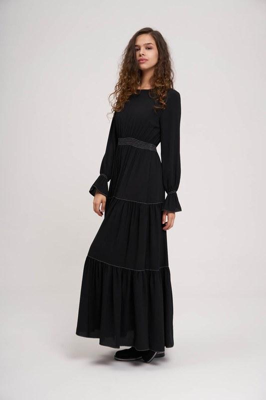 Beli Büzgülü Lastikli Elbise (Siyah)