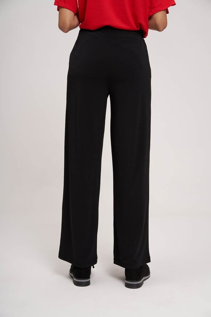 MIZALLE YOUTH - Pleated Fabric Trousers (Black) (1)