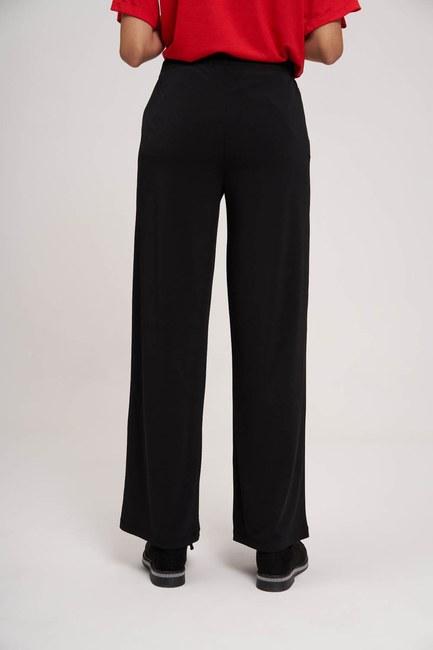 MIZALLE YOUTH - Beli Büzgülü Sandy Kumaş Pantolon (Siyah) (1)