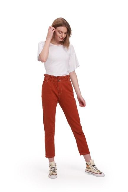 Mizalle - Beli Fırfırlı Pantolon (Kiremit)