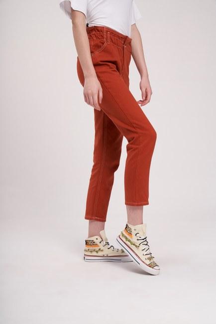 MIZALLE YOUTH - Beli Fırfırlı Pantolon (Kiremit) (1)