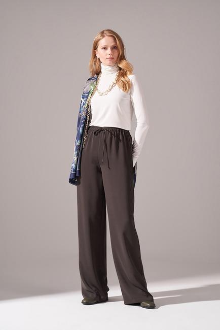 Mizalle - Beli İp Bağlamalı Pantolon (Haki)