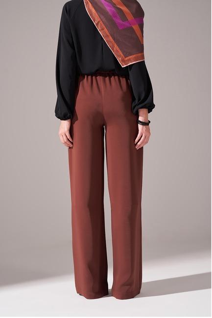 Beli İp Bağlamalı Pantolon (Kahverengi) - Thumbnail