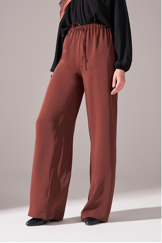 Beli İp Bağlamalı Pantolon (Kahverengi)