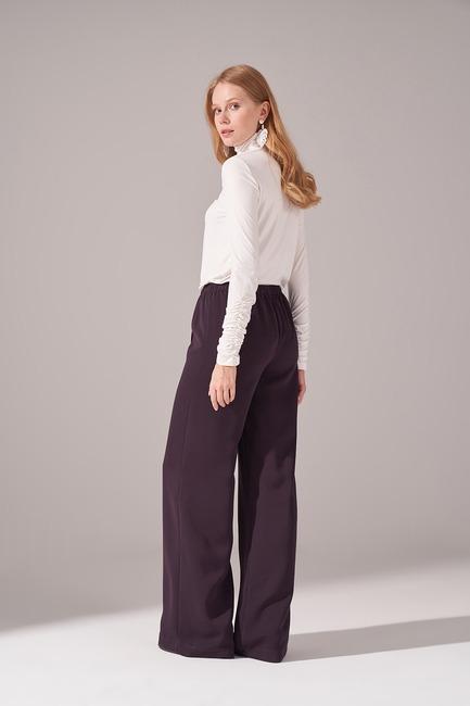Beli İp Bağlamalı Pantolon (Mürdüm) - Thumbnail