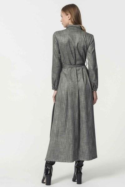 Beli Kuşak Detaylı Elbise (Gri) - Thumbnail