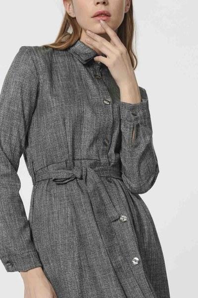 MIZALLE - Beli Kuşak Detaylı Elbise (Gri) (1)