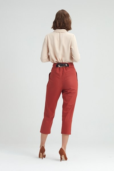 Waistbelted Trousers (Brick Red) - Thumbnail