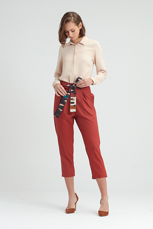 MIZALLE Beli Kuşaklı Pantolon (Kiremit) (1)