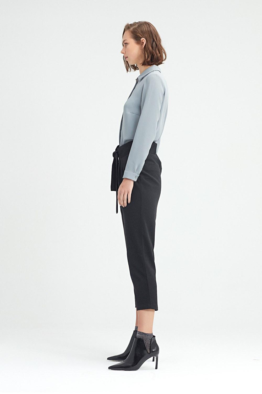 MIZALLE Beli Kuşaklı Pantolon (Siyah) (1)