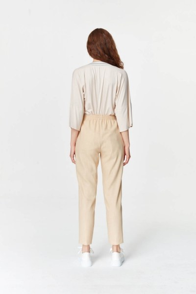 Pockets Detailed Elastic Waist Pants (Beige) - Thumbnail