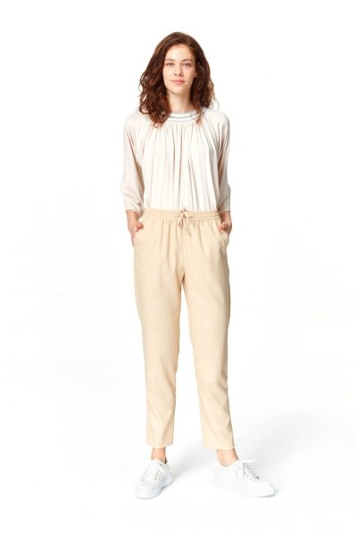 MIZALLE Beli Lastikli Cepli Pantolon (Bej)