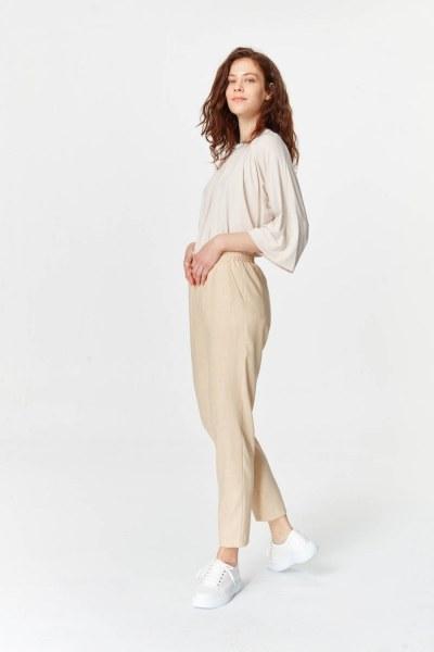 MIZALLE - Beli Lastikli Cepli Pantolon (Bej) (1)
