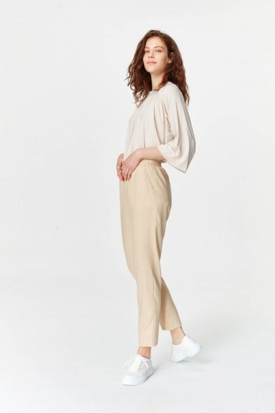 Beli Lastikli Cepli Pantolon (Bej) - Thumbnail