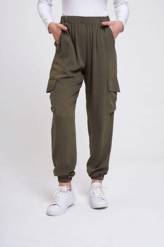 Beli Lastikli Cepli Pantolon (Haki)