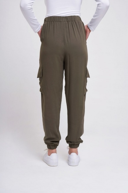 Beli Lastikli Cepli Pantolon (Haki) - Thumbnail