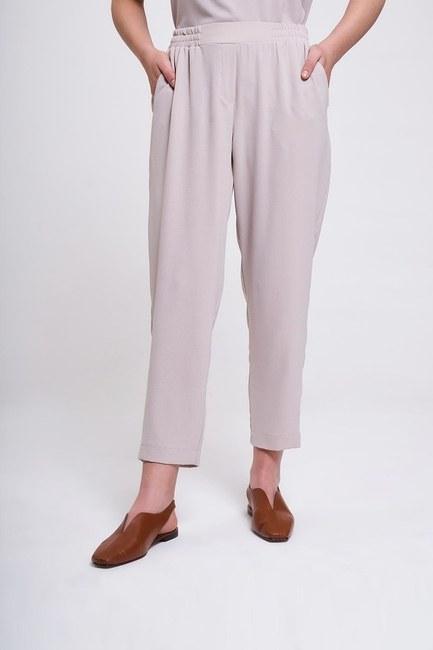 MIZALLE - Beli Lastikli Dar Paça Pantolon (Bej) (1)