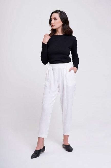 Mizalle - Beli Lastikli Dar Paça Pantolon (Beyaz)
