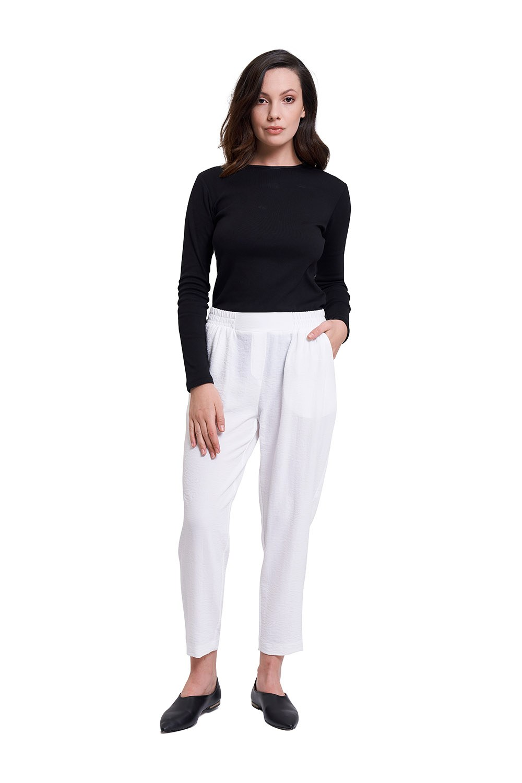 Beli Lastikli Dar Paça Pantolon (Beyaz)