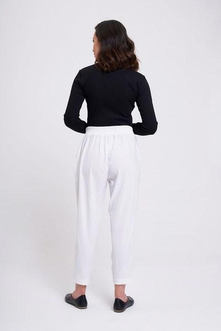 Beli Lastikli Dar Paça Pantolon (Beyaz) - Thumbnail