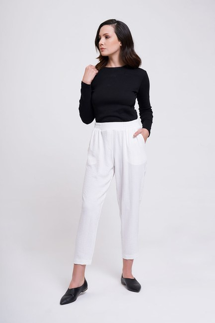 MIZALLE - Beli Lastikli Dar Paça Pantolon (Beyaz) (1)