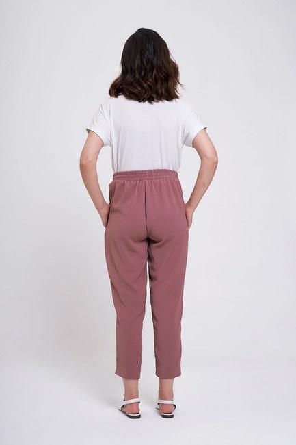 Beli Lastikli Dar Paça Pantolon (Gül Kurusu) - Thumbnail