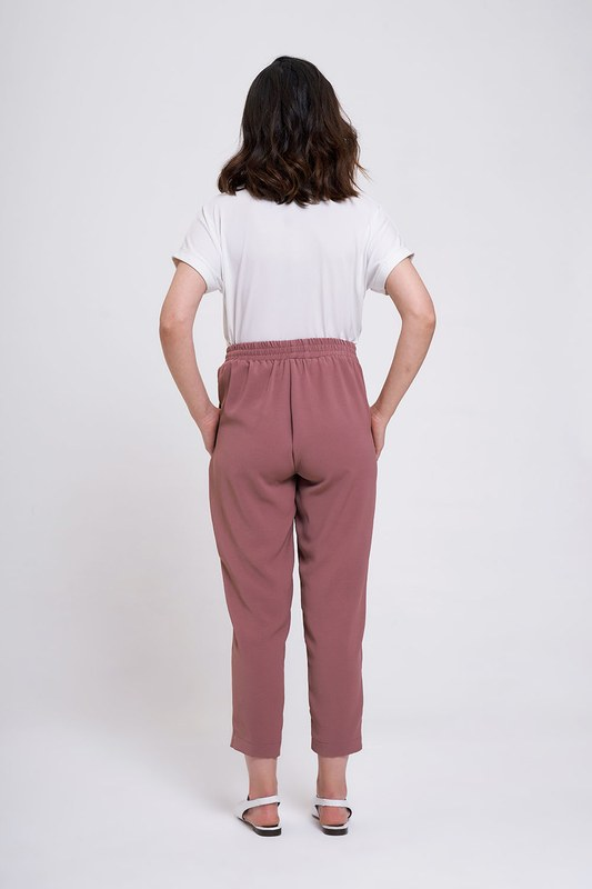 Beli Lastikli Dar Paça Pantolon (Gül Kurusu)