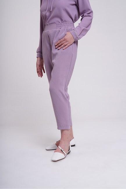 MIZALLE - Beli Lastikli Dar Paça Pantolon (Lila) (1)
