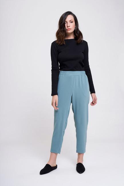 Mizalle - Beli Lastikli Dar Paça Pantolon (Mint)