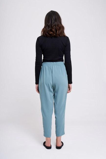 Beli Lastikli Dar Paça Pantolon (Mint) - Thumbnail