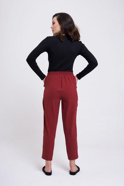 Beli Lastikli Dar Paça Pantolon (Mürdüm) - Thumbnail