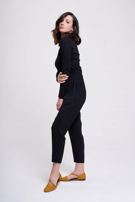 MIZALLE - Beli Lastikli Dar Paça Pantolon (Siyah) (1)