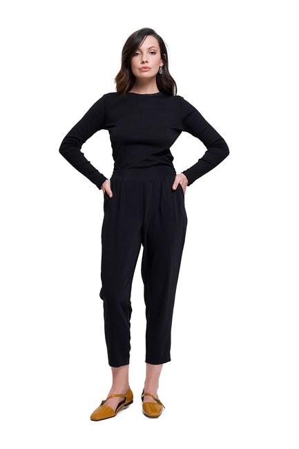 Mizalle Beli Lastikli Dar Paça Pantolon (Siyah)