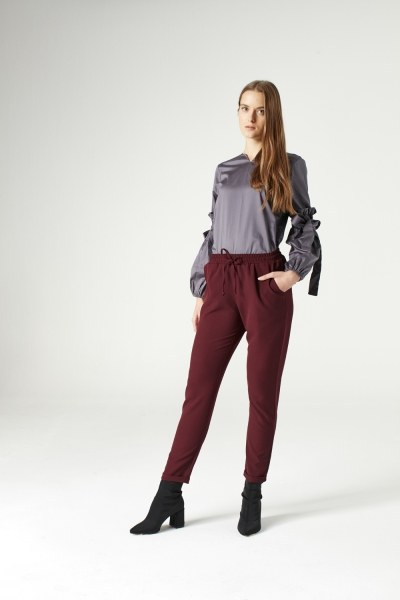 Elasticated Waist Cuffed Trousers (Claret Red) - Thumbnail