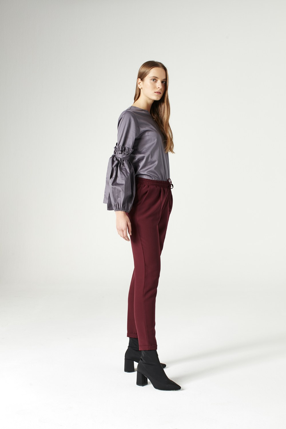 MIZALLE Elasticated Waist Cuffed Trousers (Claret Red) (1)