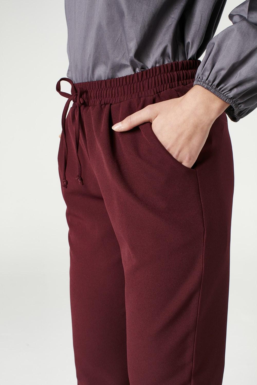 MIZALLE Beli Lastikli Duble Paça Pantolon (Bordo) (1)