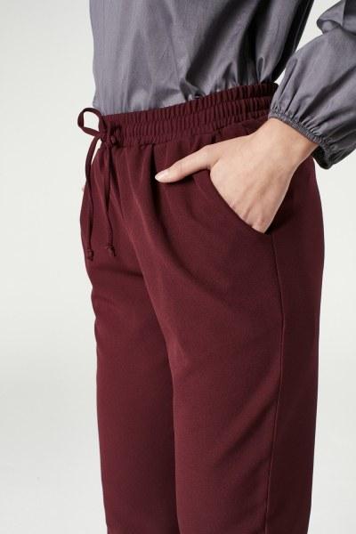 Beli Lastikli Duble Paça Pantolon (Bordo) - Thumbnail