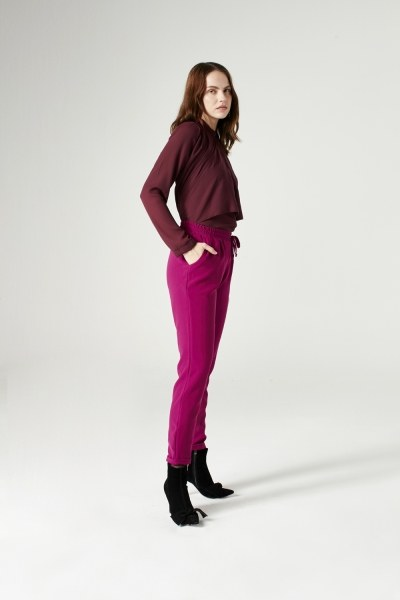 MIZALLE - Elasticated Waist Cuffed Trousers (Fuchsia) (1)