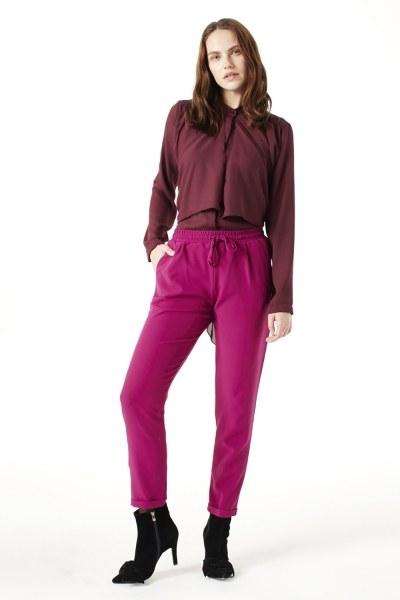 MIZALLE Beli Lastikli Duble Paça Pantolon (Fuşya)