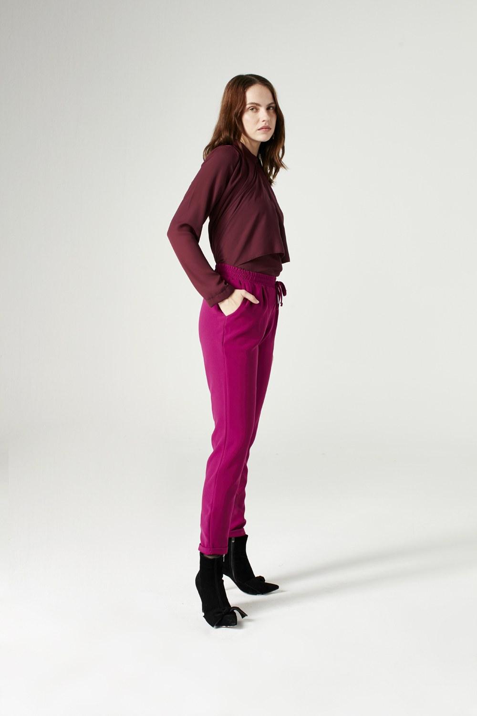 MIZALLE Beli Lastikli Duble Paça Pantolon (Fuşya) (1)
