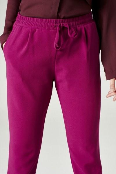 MIZALLE - Beli Lastikli Duble Paça Pantolon (Fuşya) (1)